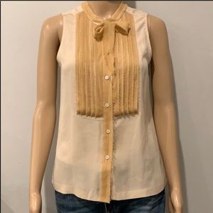 J CREW Cream/Tan Silk Sleeveless Blouse Size 2